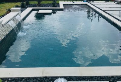 Custom pool with sheer descents
