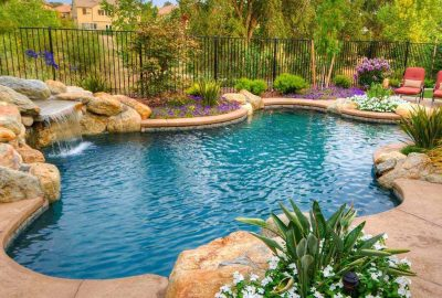 Freeform Lagoon Pool with Rock Waterfall Grotto