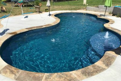 Freeform Pool with Deck Jets Bubblers