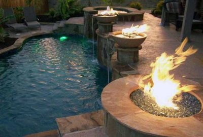 Freeform Pool with Fire Bowls