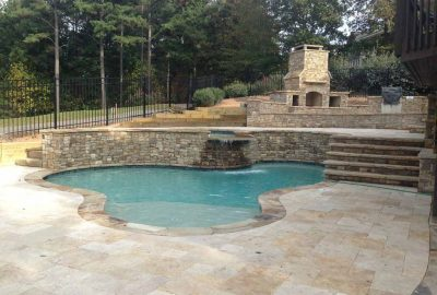 Freeform Pool with Raised Spa Beach Entry and Outdoor Kitchen