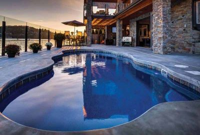 Freeform Pool with Tile Coping Concrete Deck