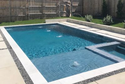 Geometric Pool and Spa with deck jets and bubblers