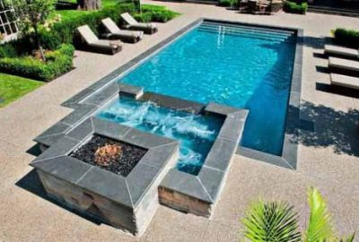 Geometric Pool with Raised Spa and Raised Fire Pit