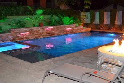 Geometric Pool with Raised Wall Sheer Descents LED Lights