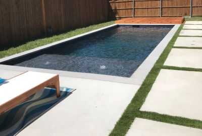 Geometric Pool with tanning ledge and bubblers