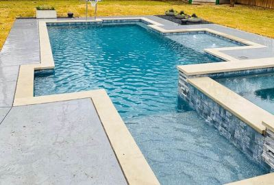 Geometric pool and raised spa