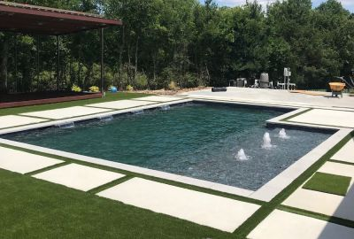 Geometric pool with bubblers and sheer descents
