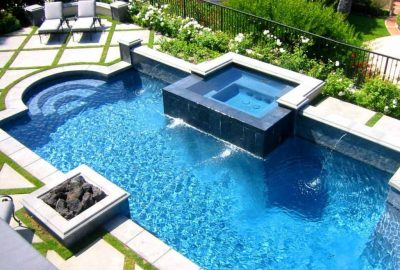 Geometric Pool with Raised Spa Geometric Fire Pit