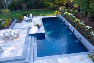 Geometric Pool with Raised Wall and Duo Decks