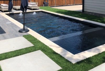 Geometric Pool & Spa with Tanning Ledge & Bubblers