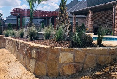 retaining wall with landscape